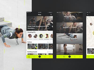 Flive App flive clean minimal stream live workout fitness ui ux app ios