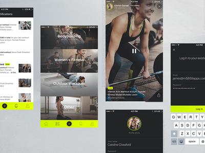 Flive app II flive clean minimal stream live workout fitness ui ux app ios