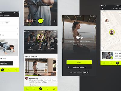 Flive app III flive clean minimal stream live workout fitness ui ux app ios