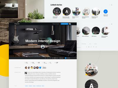 Story platform interior architecture photo circle clean minimal ux ui platform story