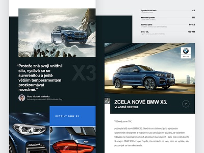 BMW X3 newsletter grid layout automotive car minimal clean bmw email newsletter