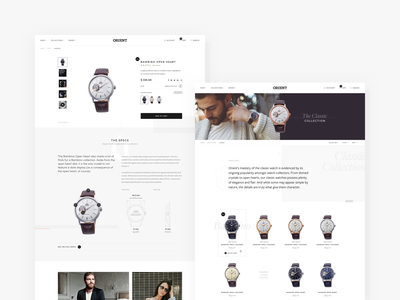 Orient Watch USA store collection product detail product shop ecommerce watches watch clean typography minimal web ui
