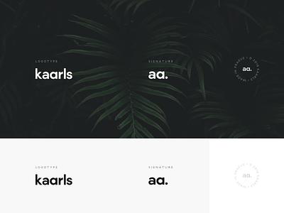 Kaarls brand II typography minimal logomark kaarls interior design interior identity furniture dark branding brand