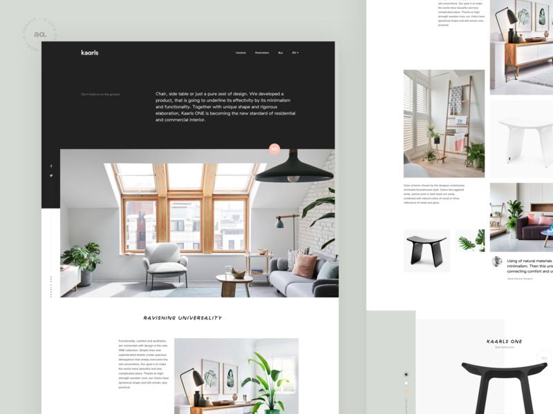Kaarls website shop website ux ui web minimal typography clean logo branding interior furniture layout grid