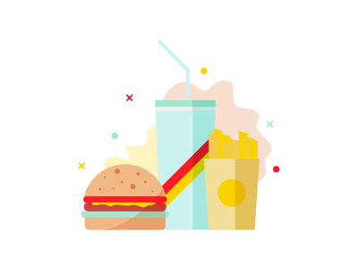 Combo Meal burger meal food simple fun minimal shapes geometry color illustration