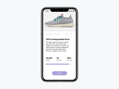 Daily UI 032 product simple fundraising purple design ux ui typography minimal