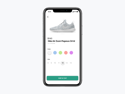 Daily UI 033 simple ecommerce selector nike shoe color design ux ui fun typography minimal