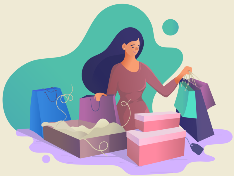 Shopping Day gradient purchases vector art joy shopping girl character flat characterdesign vector illustration characters