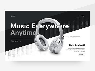 Music Everywhere bold white black minimal typography