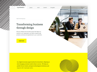 Leap Forward - Website ui website shapes yellow white black minimal abstract