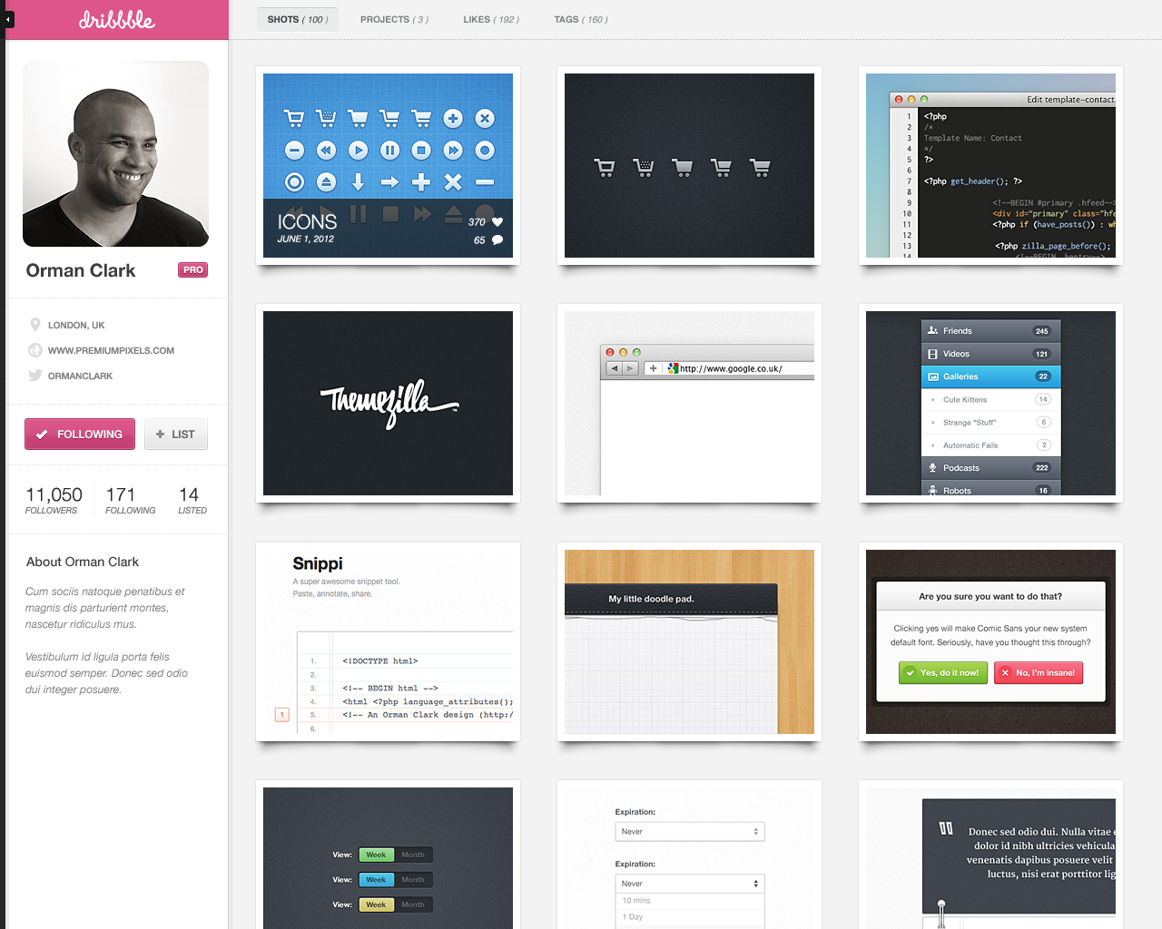 Dribbble profile fullview