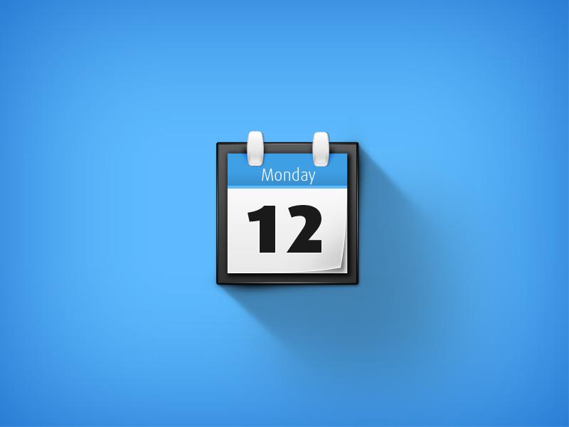 Calendar calendar icon blue 12 monday shadow