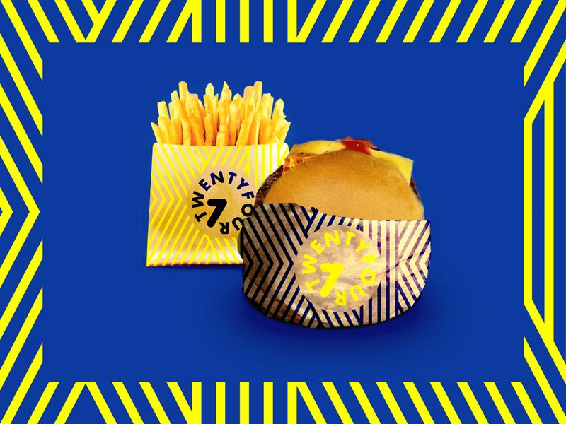 Burger concept identity stripes blue yellow seven twentyfour colorful colourful