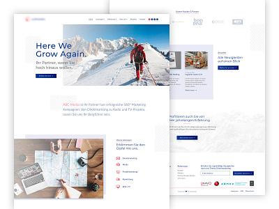 Austrian Media Company Website Concept landing page web development ux design ui design white website media agency media company website web design concept consulting website web design