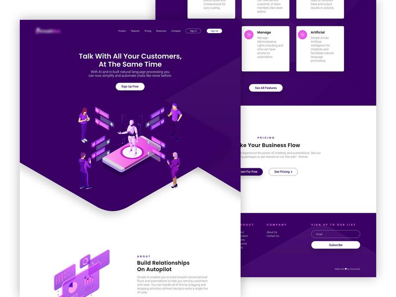 Chatbot Landing Page web design concept web design agency purple web development uxdesign uidesign website design web design landing page chatbot