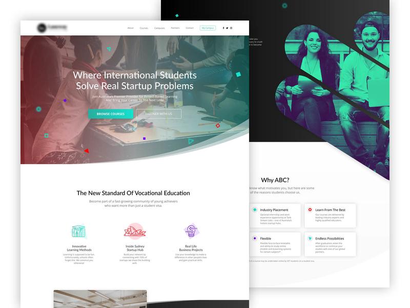 Entrepreneurship College Web Design ux design ui deisgn college entrepreneurship custom web design website design web development web design concept web design