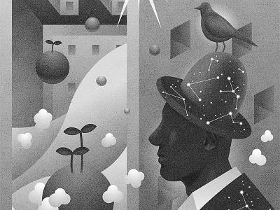 Resident of imagination graphic mono illustration