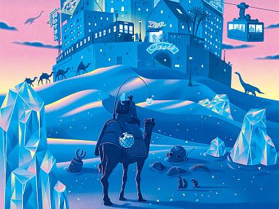 Story of Desert blue poster graphic illustrator illustration