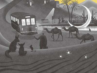 Story of Desert moon desert mono illustrator illustration