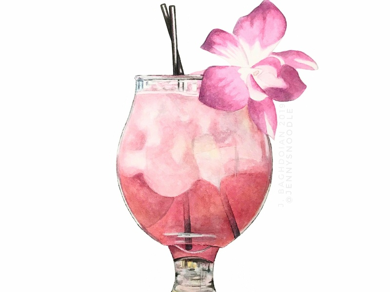 Rosé Champagne Cocktail - Original Watercolor Painting cocktails food and drink home goods botanical illustration painting watercolor illustration hand drawn