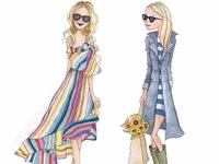 Spring Fashion Girls - Custom Cartoon Portrait Painting