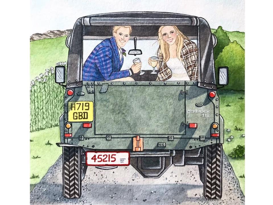 Wedding Getaway Jeep Defender weddings portrait painting realism illustration watercolor hand drawn automotive illustration jeep