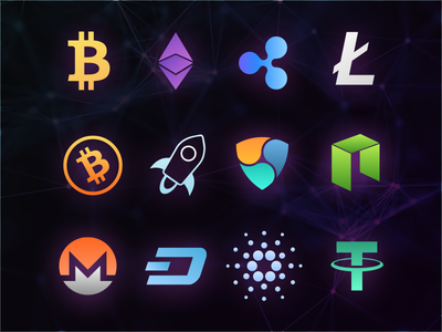 Crypto Currency Icons wallet icon monero stellar litecoin ethereum ripple bitcoin crypto currency icon