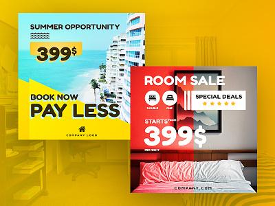Hotel/Room Reservation Instagram Banner ux instagram template banner design ui sale room hotel