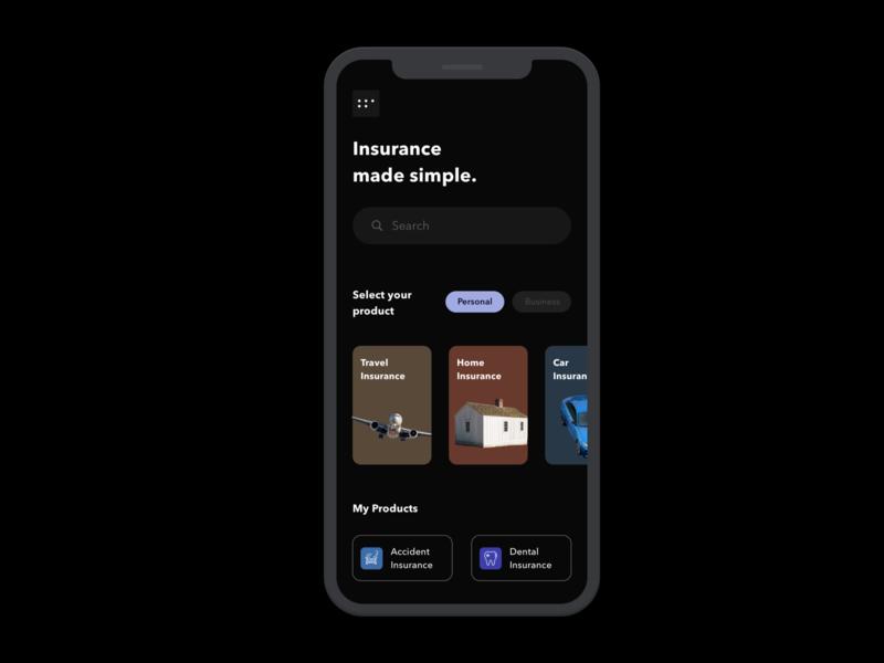 Dark mode of Home Screen source sketch design app dark mode mobile phone insurance ui