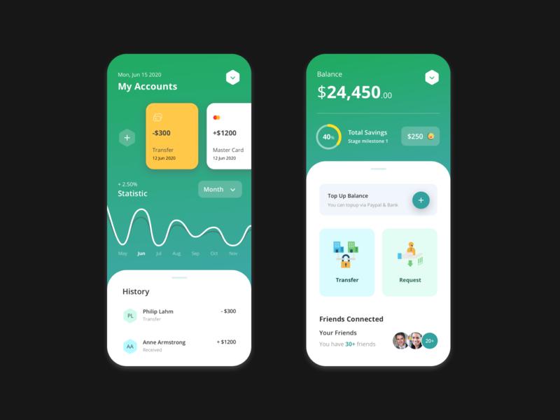 Finance App - UI Design vector mobile icons ux source sketch design activity ui app