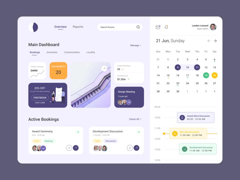 Meeting Dashboard dashboard schedule meeting room calendar activity meetings meeting design
