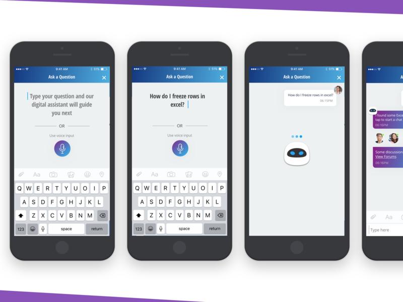 Sketch Freebies - Conversational Ui expert matching assistive technology mobile help employee team answer question chatbot chat bot ux ui conversational
