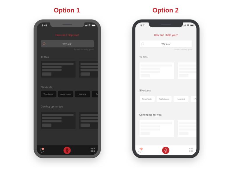Help me choose experience zone suggestive voice app design options activity list light dark ux ui vote hcm hr