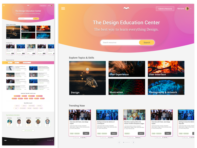 Design Education Center Home Page center education ux layout ui design homepage