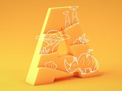 #36daysoftype05 - A cinema 4d c4d cinema4d gradient doodle africa typography type 3d illustration 36daysoftype