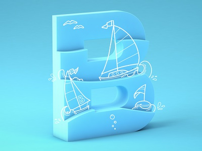 #36daysoftype05 - B c4d cinema4d gradient doodle boats typography type 3d illustration 36daysoftype