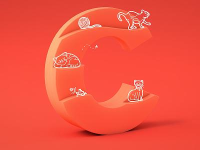 #36daysoftype05 - C c4d cinema4d gradient doodle cats typography type 3d illustration 36daysoftype