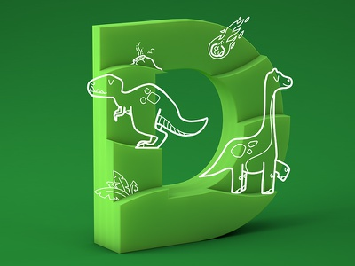 #36daysoftype05 - D c4d cinema4d gradient doodle trex dinosaur dinosaurs typography type 3d illustration 36daysoftype