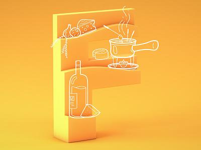 #36daysoftype05 - F cheese food fondue typography type illustration cinema4d c4d 3d 36daysoftype