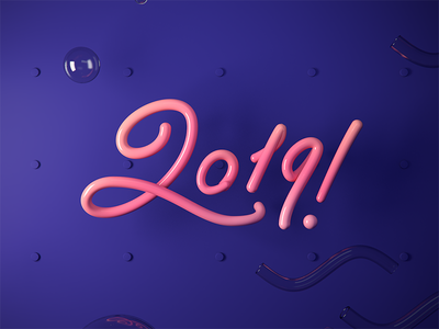 2019 3d typography motion graphics illustration