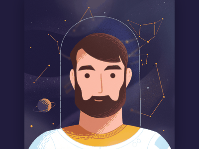 Astronaut Avatar character 2d stars cat astronaut space illustration