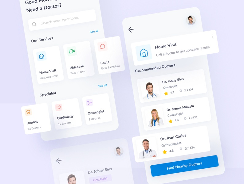 HeyDoc - Doctor Consultation App website web ux ui design ui simple mobile minimal health ios doctor icon design clean blue app