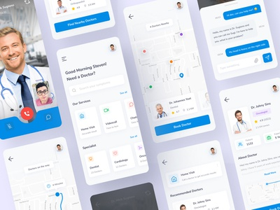 HeyDoc - Doctor Consultation App chats video call ux ui  ux ui design ui mobile ui simple mobile minimal ios icon medical health doctor design clean blue app