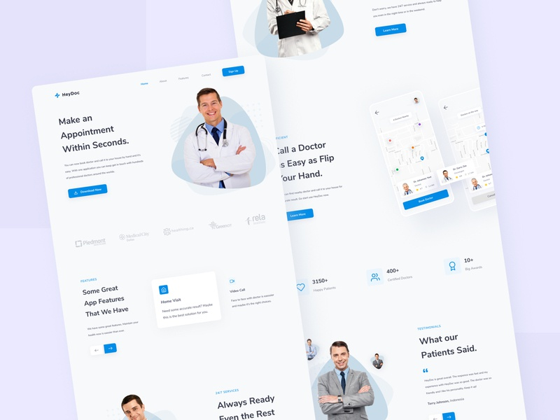 HeyDoc - Landing Page clean web website landing page medical doctor design health interface minimal ui ux ux design web design blue icon ui design ui ux simple