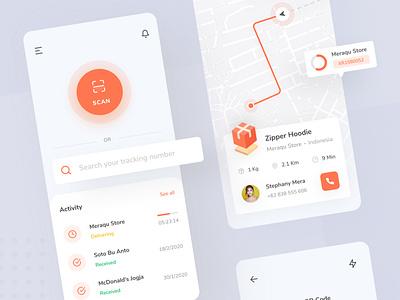 Tracktify - Package Tracker App icon ui ux clean design clean ui tracking tracking app tracker application orange ios simple interface ui design mobile minimal ux ui design clean app