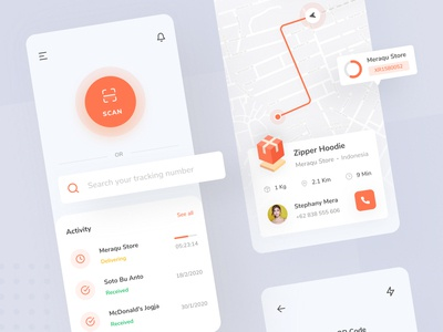 Tracktify - Package Tracker App icon ui ux clean design clean ui tracking tracking app tracker application orange ios simple interface ui design mobile minimal ux ui design clean app