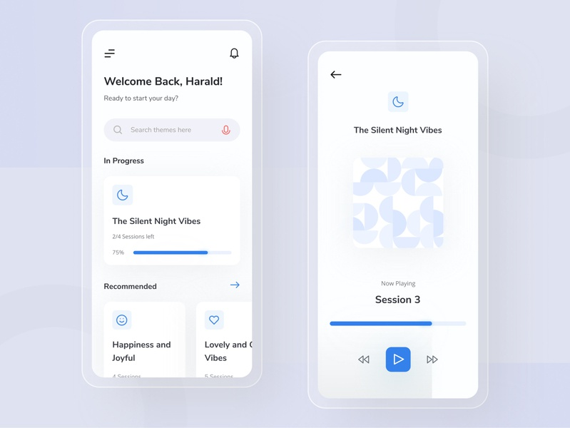 Meditation App UI ios ui design type simple minimal ux uiux interface icon meditation graphic flat ui design concept color clean blue app design app