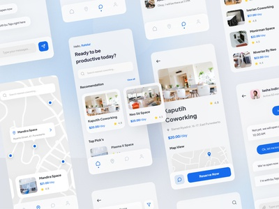 Co-Working Place Finder App ios finder ux design ui  ux user interface coworking space bookings coworking blue mobile app ui design simple minimal interface icon design clean ux ui