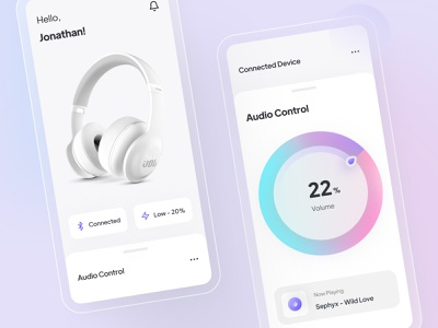 Headphone Controller App user experience blue ui  ux white sleek gradient volume controller audio headphone mobile ui design simple minimal interface icon design clean ux ui