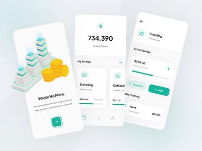 Savings App ios user interface uiux illustration isometric green app mobile ui design simple minimal interface icon design clean savings app finance savings ux ui